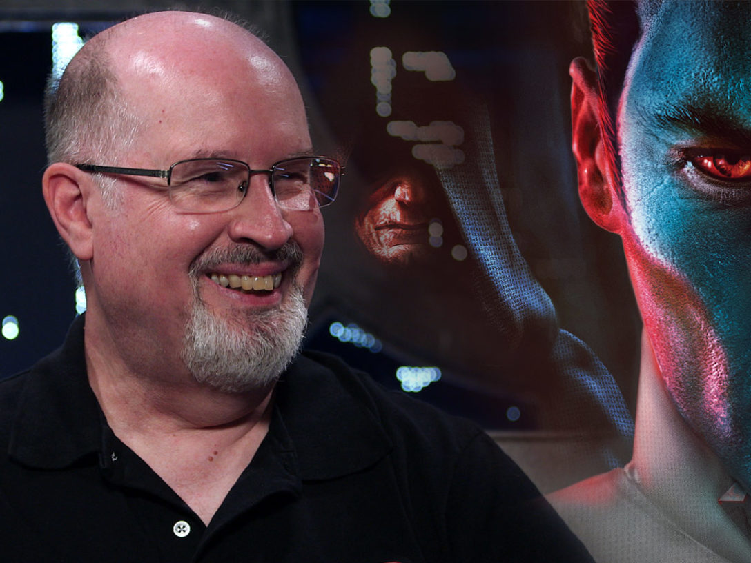 Timothy Zahn in a montage with the cover of Thrawn: Treason