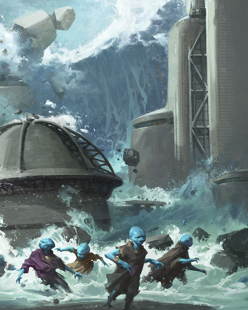 Painting of tidal wave from Star Wars: Myths & Fables.