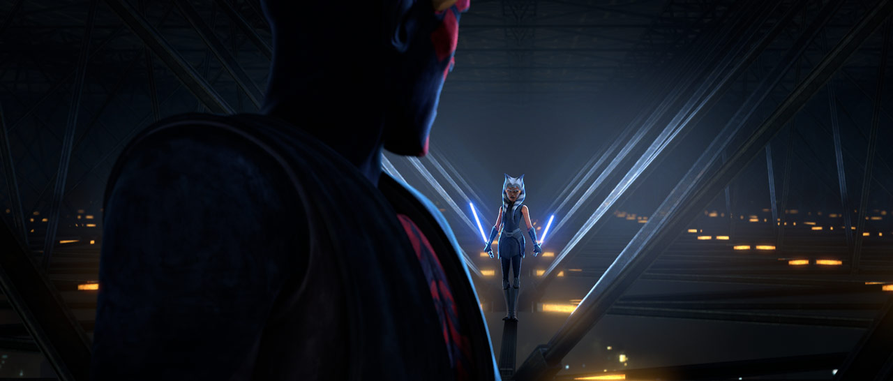 Ahsoka Tano and Darth Maul in an image from Star Wars: The Clone Wars shown at D23 Expo 2019