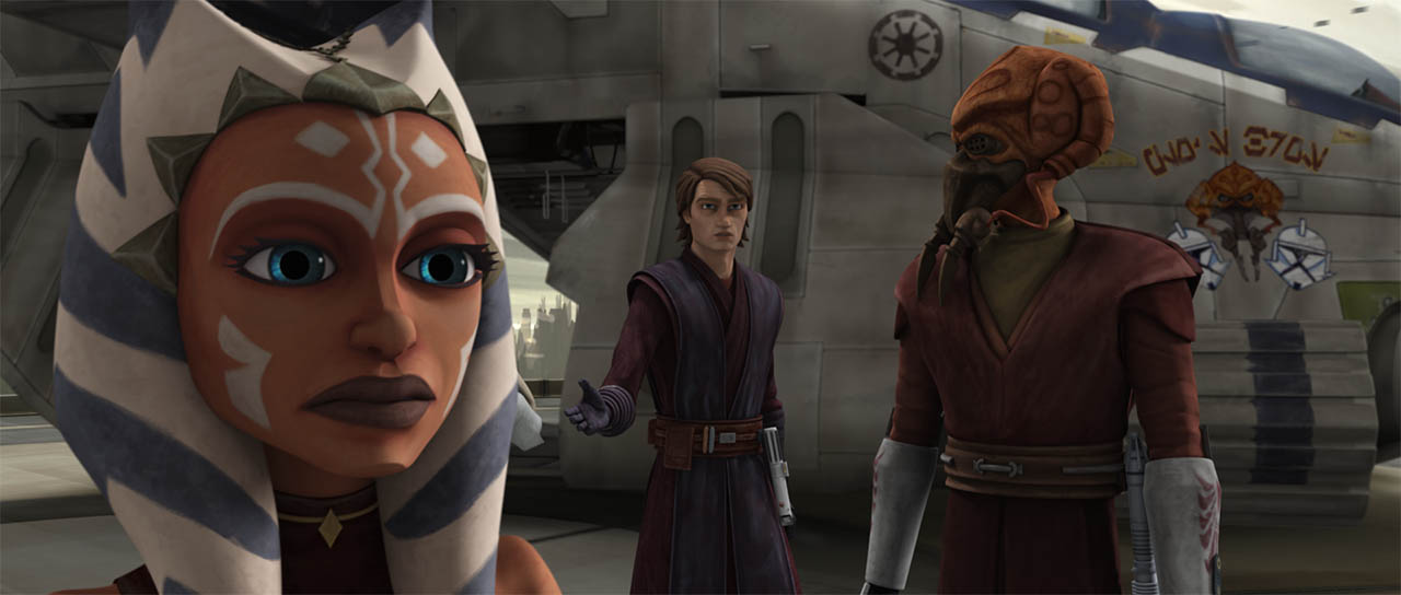 "Anakin talks to Plo Koon about Ahsoka in ""Citadel Rescue."""