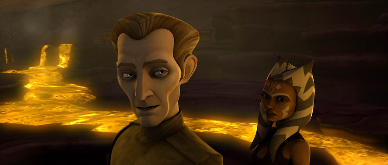 "Tarkin and Ahsoka in ""Citadel Rescue."""