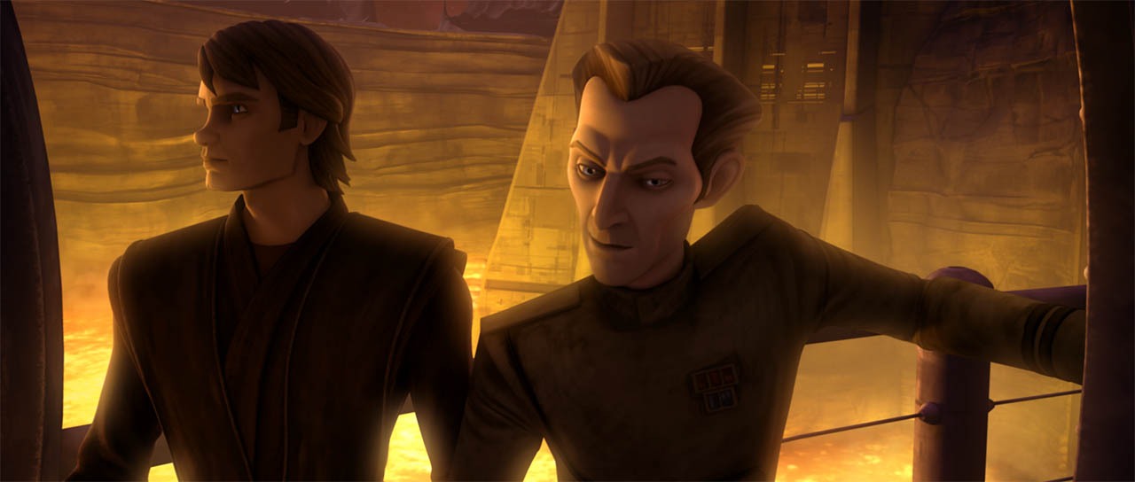 "Tarkin and Anakin in ""Counterattack."""