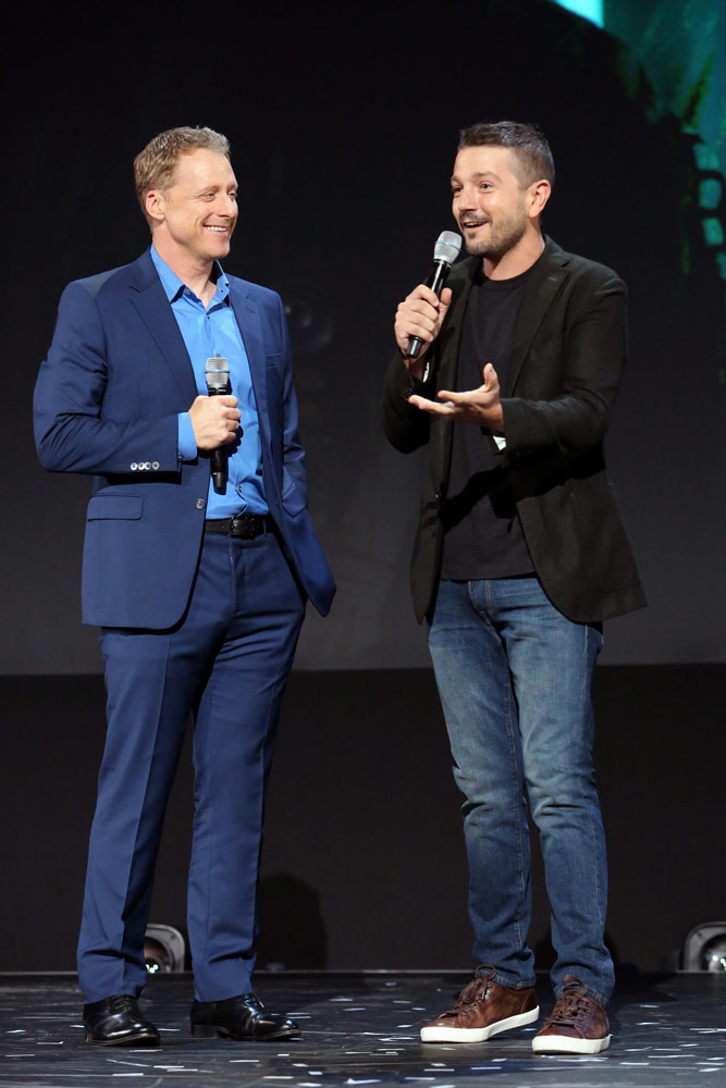ANAHEIM, CALIFORNIA - AUGUST 23: (L-R) Alan Tudyk and Diego Luna of 'Untitled Cassian Andor Series' took part today in the Disney+ Showcase at Disney's D23 EXPO 2019 in Anaheim, Calif. 'Untitled Cassian Andor Series' will stream exclusively on Disney+, which launches November 12. (Photo by Jesse Grant/Getty Images for Disney)