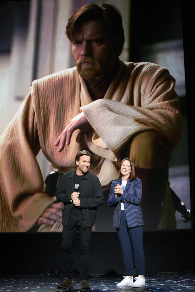 ANAHEIM, CALIFORNIA - AUGUST 23: (L-R) Ewan McGregor of 'Untitled Obi-Wan Kenobi Series' and Lucasfilm president Kathleen Kennedy took part today in the Disney+ Showcase at Disney's D23 EXPO 2019 in Anaheim, Calif. 'Untitled Obi-Wan Kenobi Series' will stream exclusively on Disney+, which launches November 12. (Photo by Jesse Grant/Getty Images for Disney)