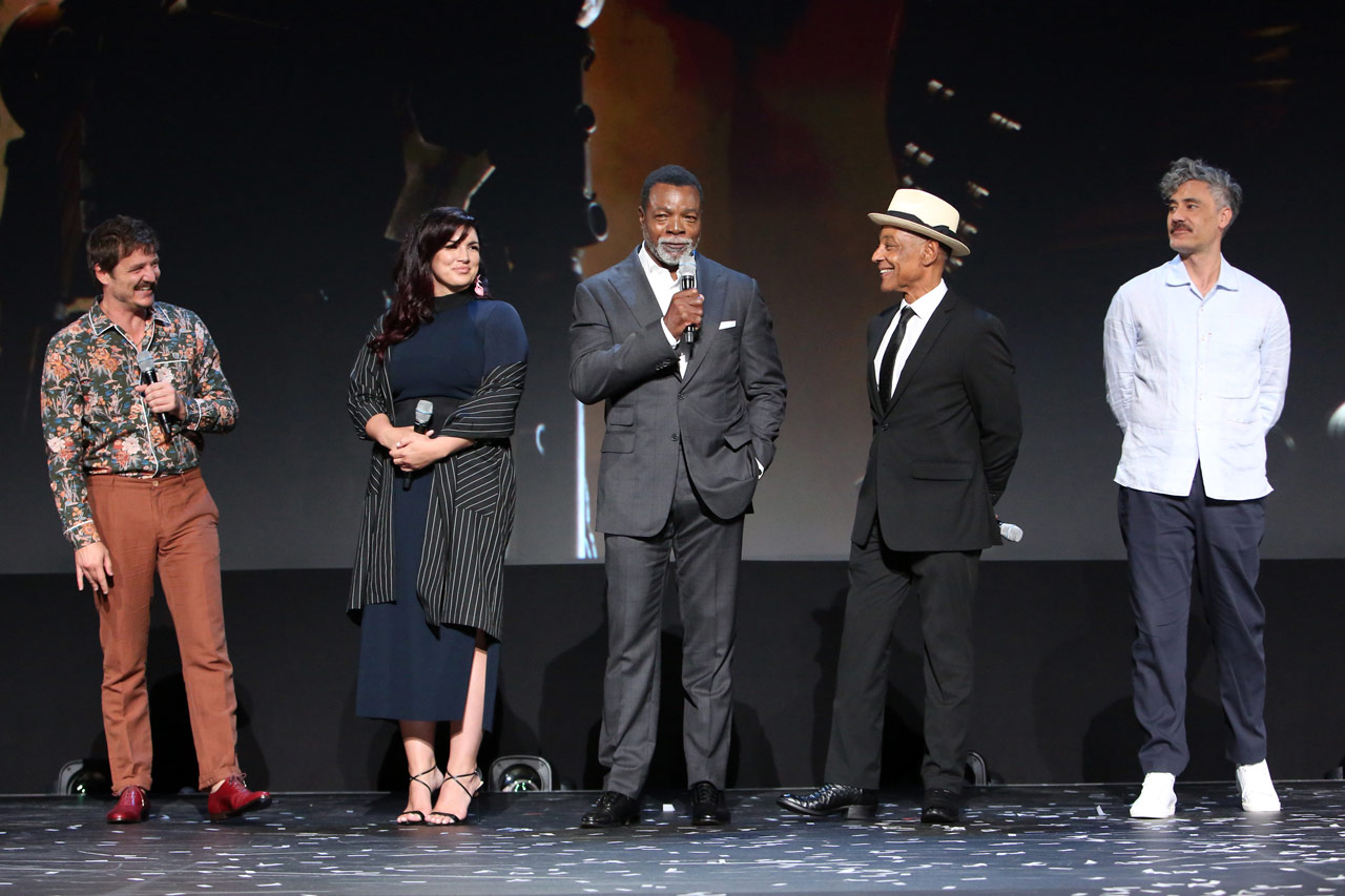 ANAHEIM, CALIFORNIA - AUGUST 23: (L-R) Pedro Pascal, Gina Carano, Carl Weathers, Giancarlo Esposito, and Taika Waititi of 'The Mandalorian' took part today in the Disney+ Showcase at Disney's D23 EXPO 2019 in Anaheim, Calif. 'The Mandalorian' will stream exclusively on Disney+, which launches November 12. (Photo by Jesse Grant/Getty Images for Disney)
