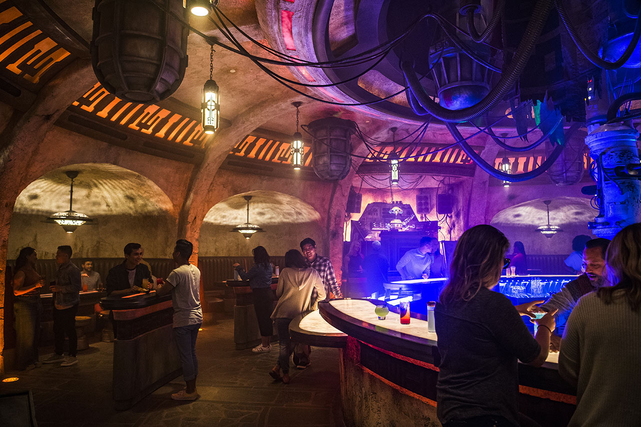 A view of the booths at Oga's Cantina