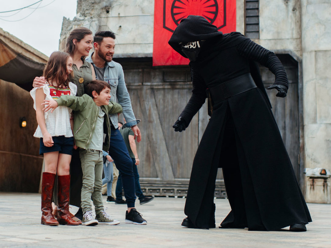 Kylo Ren encounters some visitors at Star Wars: Galaxy's Edge.