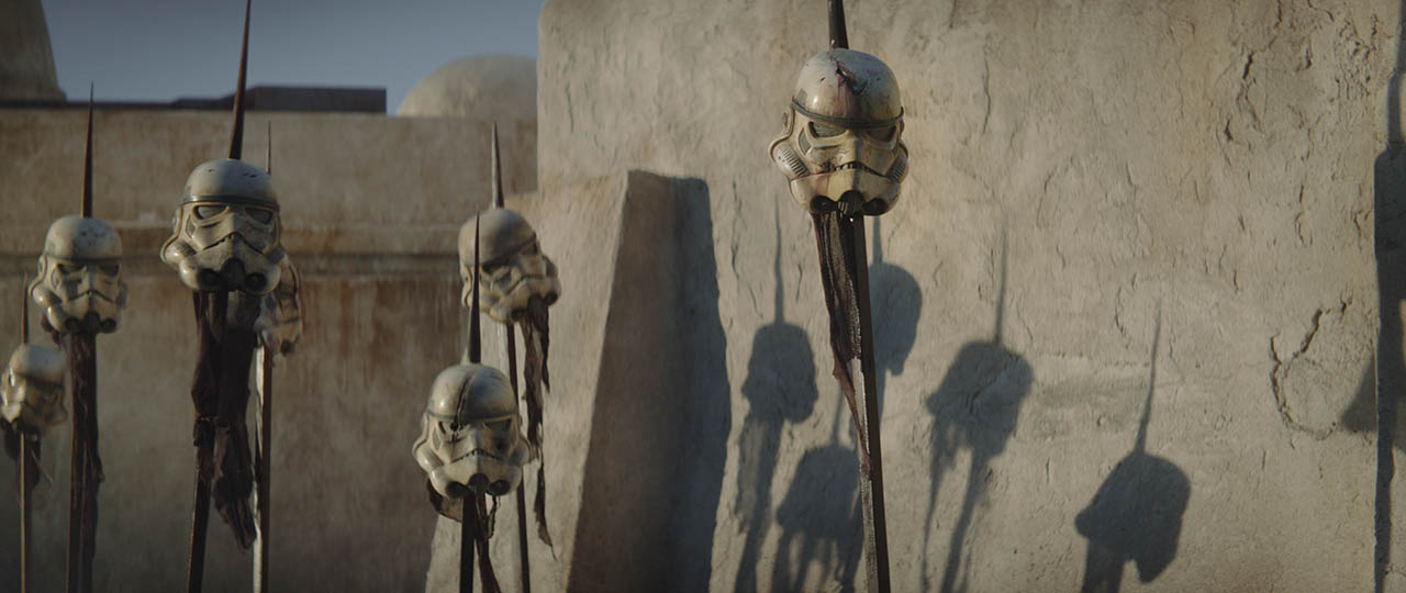 Stormtrooper helmets on pikes in the first trailer for The Mandalorian.