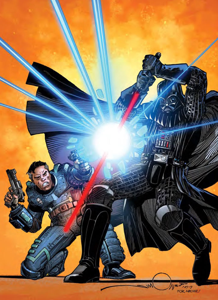 Beilert Valance and Darth Vader on the cover of Star Wars #108