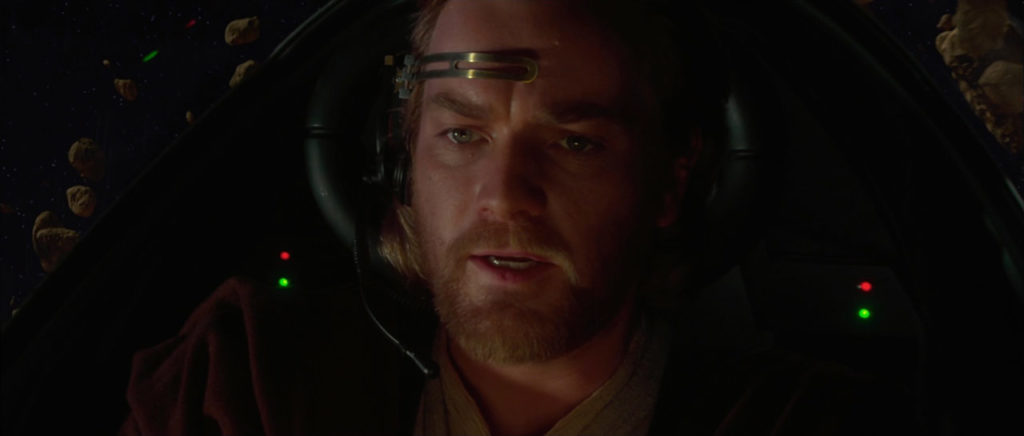 Obi-Wan Kenobi piloting his Jedi Starfighter
