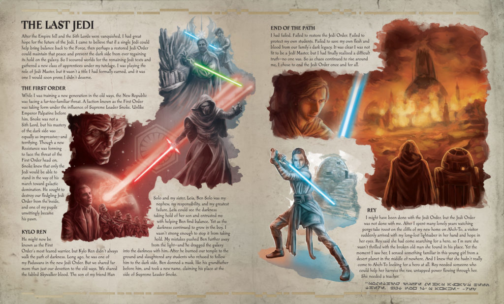 The Secrets of the Jedi - interior spread on the events of The Last Jedi