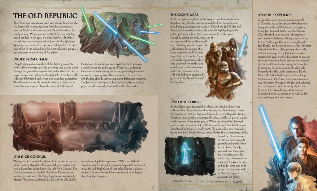 The Secrets of the Jedi - interior spread on the Old Republic
