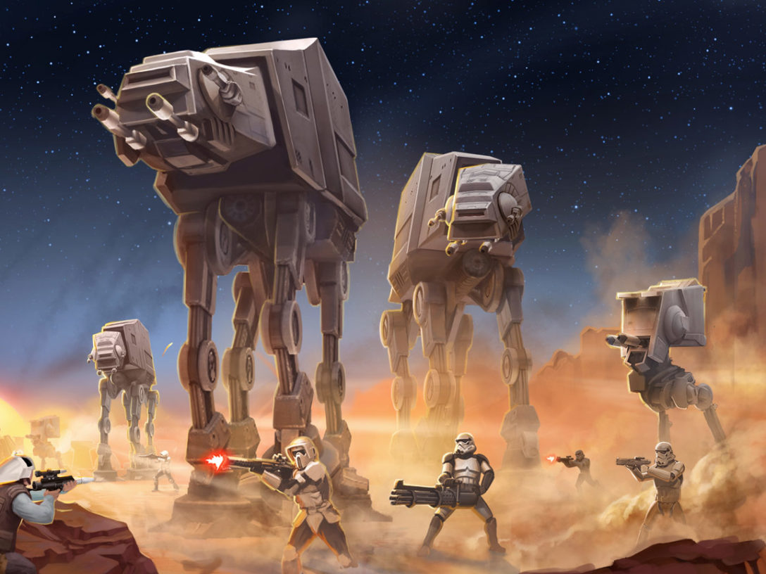 AT-ATs and the Empire battle rebels in Star Wars: Commander key art
