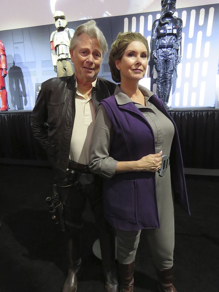 Naomi Brett Rourke and Tim Guest cosplaying as Han Solo and General Leia