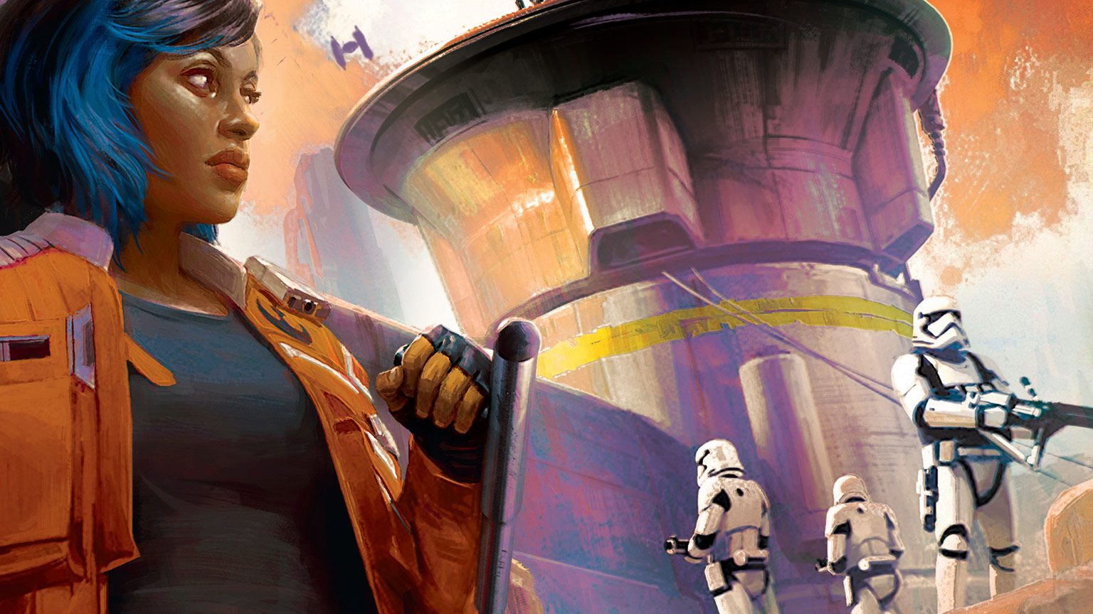 Vi Moradi on Batuu on the cover of Star Wars: Galaxy's Edge - Black Spire.