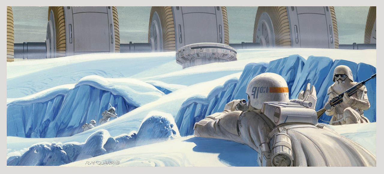 Imperial snowtroopers advance upon the Rebel power station on Hoth.