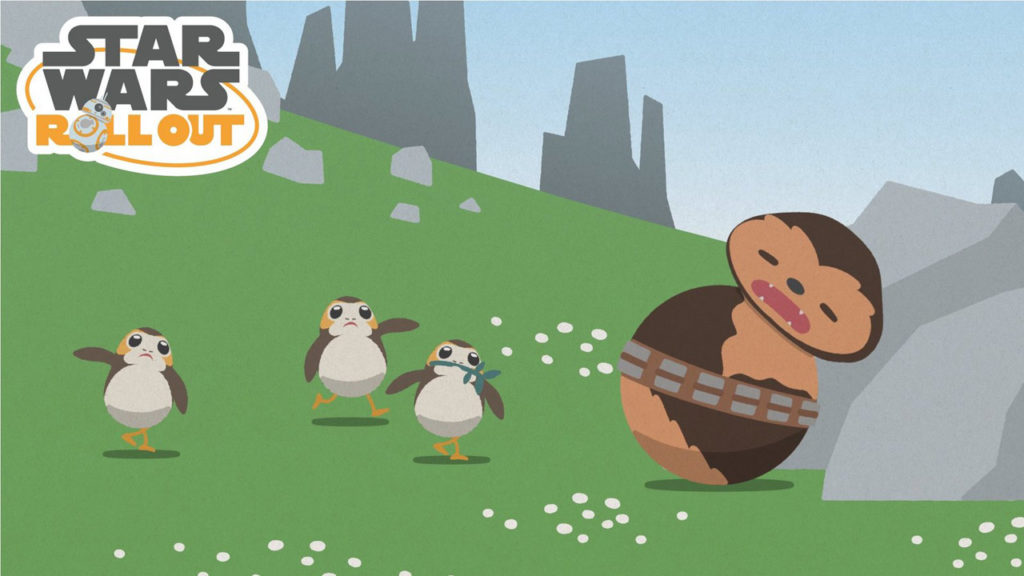 Star Wars Roll Out - porgs with sleeping Chewbacca