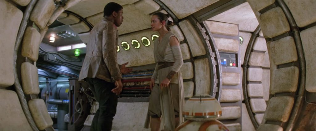 Rey and Finn in Millennium Falcon