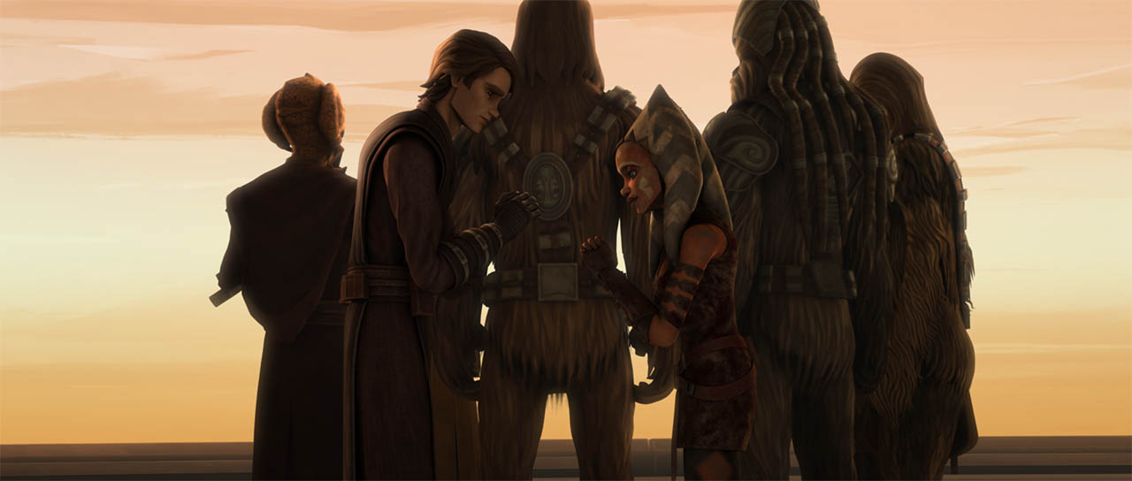 "Ahsoka and Anakin in ""Wookiee Hunt."""