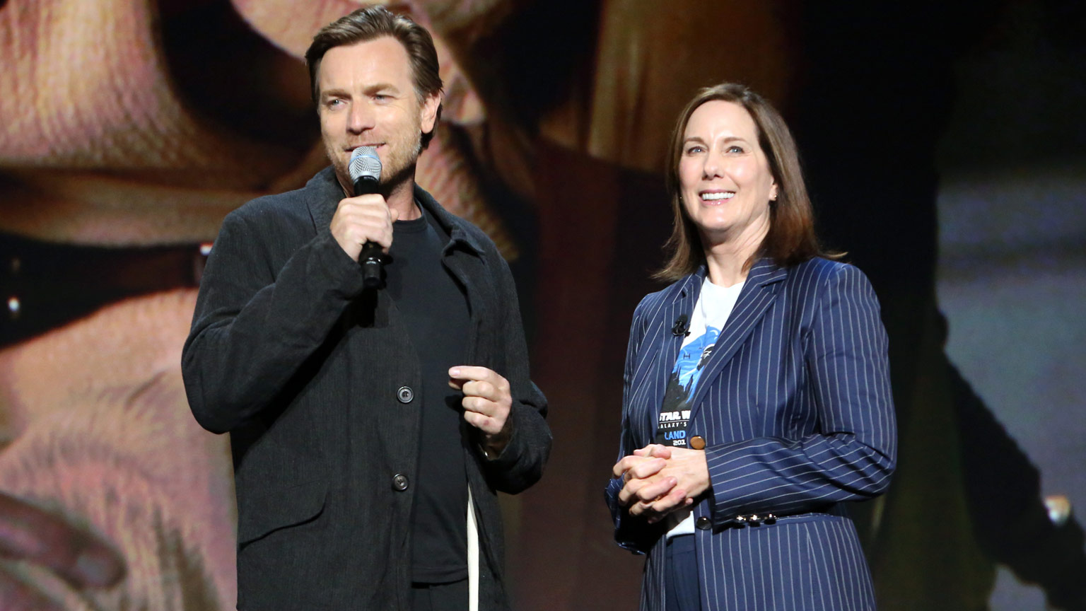 Ewan McGregor and Kathleen Kennedy at D23 Expo 2019.