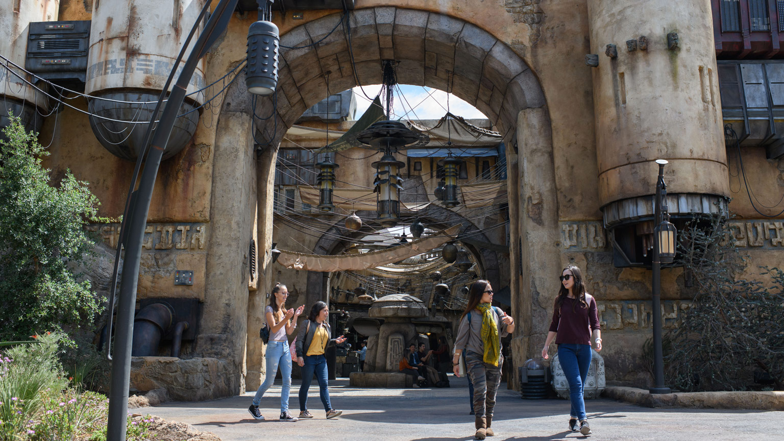Fans at the Star Wars: Galaxy's Edge marketplace