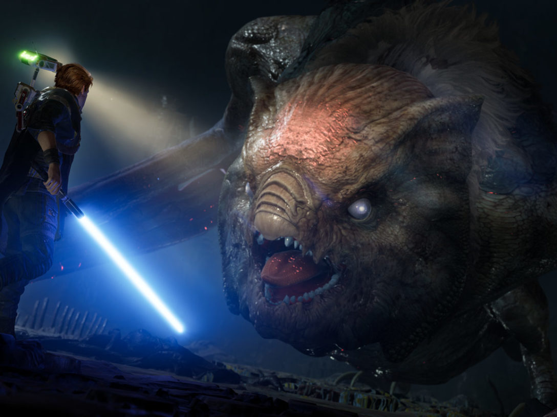 Cal battles a creature in Star Wars Jedi: Fallen Order