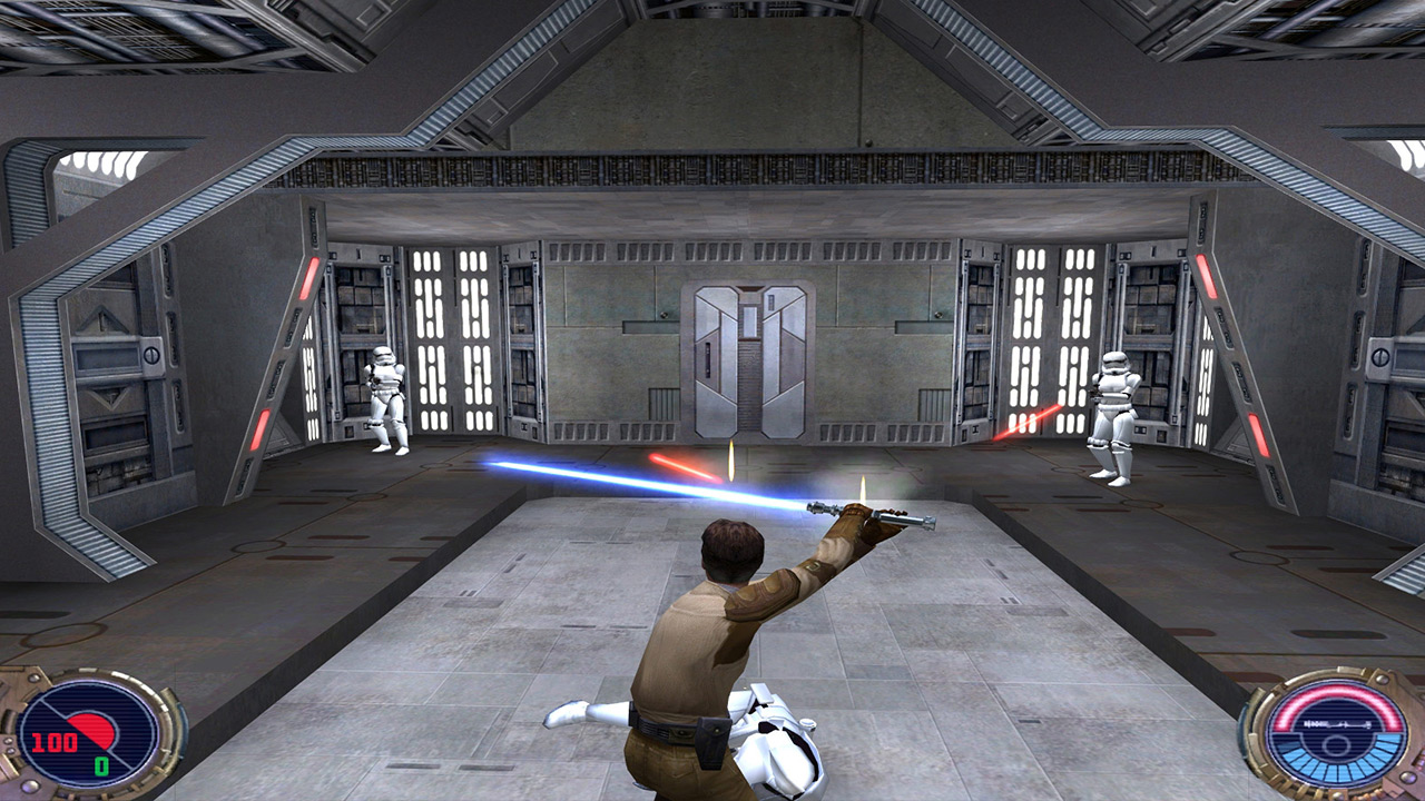 Kyle Katarn deflects a blaster bolt in Jedi Outcast.