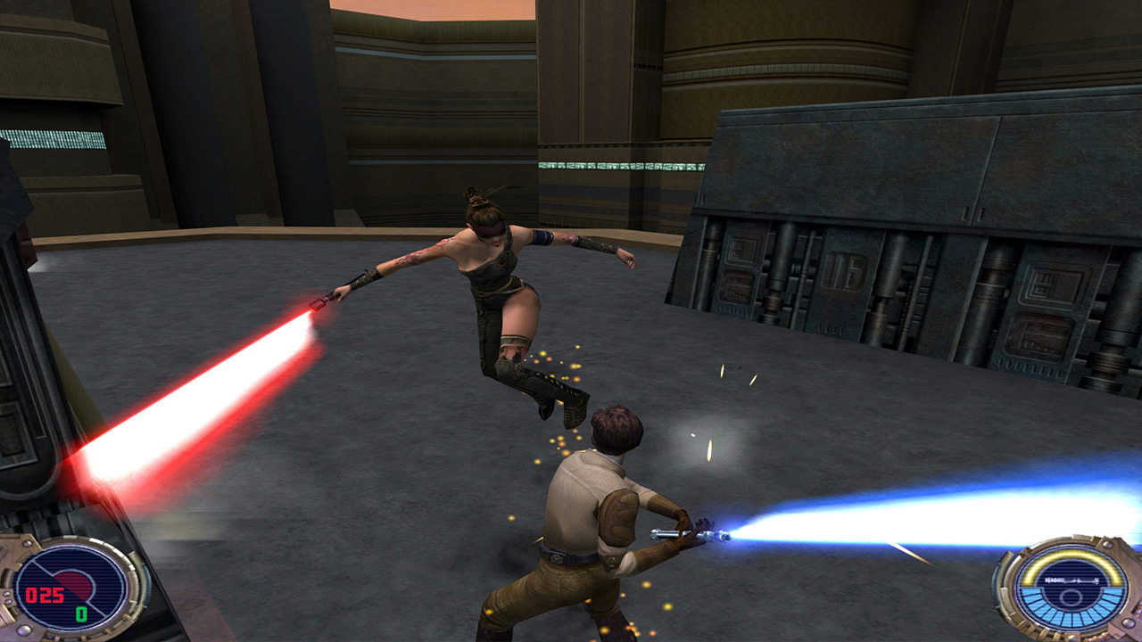Kyle Katarn duels in Jedi Outcast.