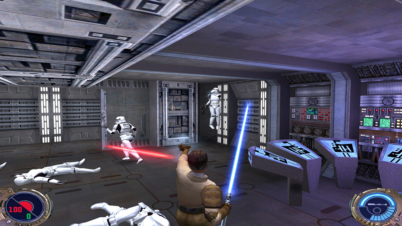 Kyle Katarn battles stormtroopers in Jedi Outcast.
