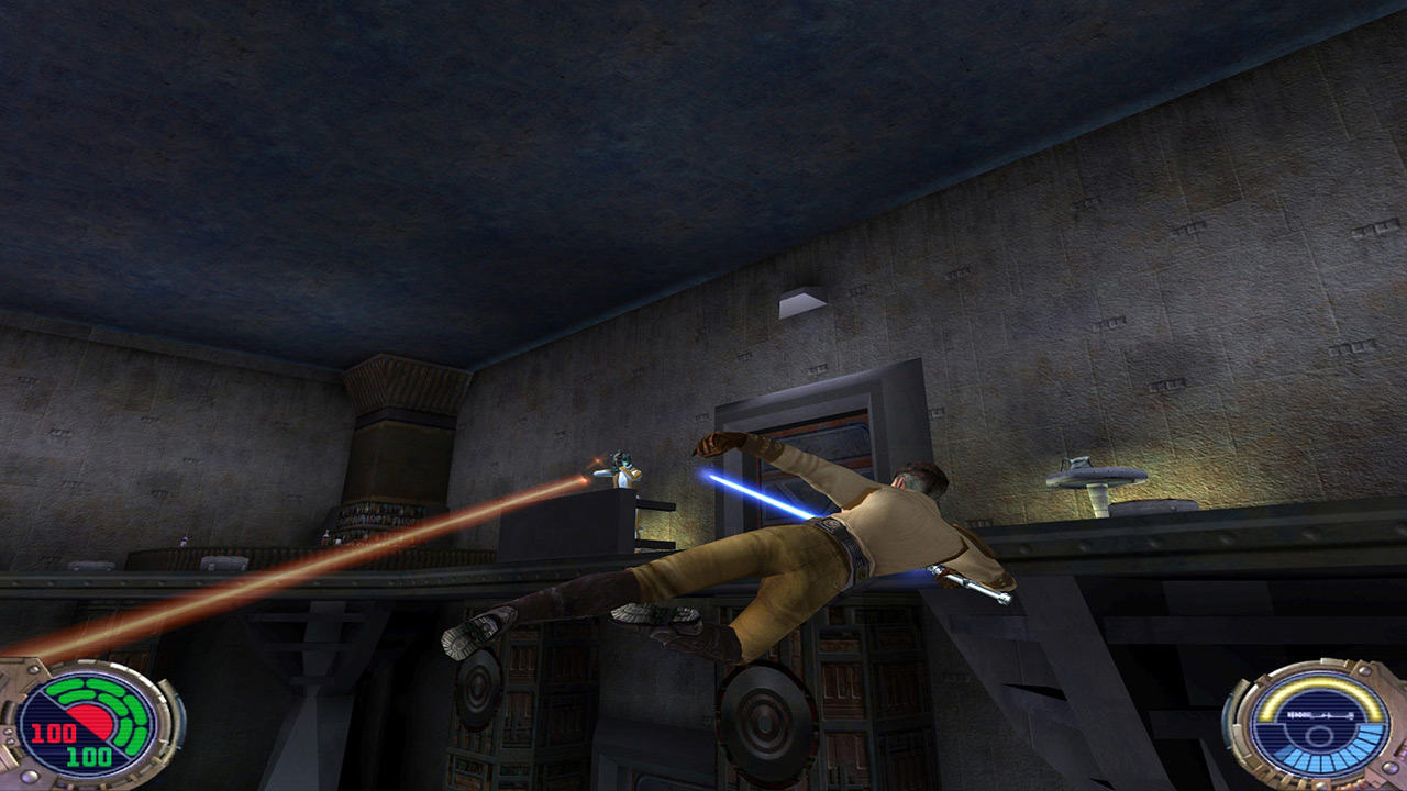 Kyle Katarn jumps in Jedi Outcast.