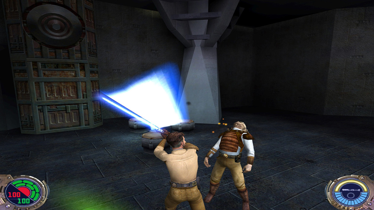 Kyle Katarn battles in Jedi Outcast.