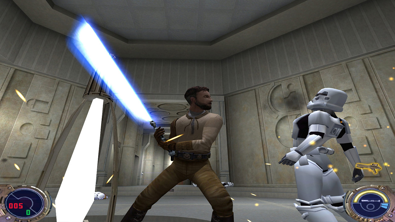 Kyle Katarn attacks a stormtrooper in Jedi Outcast.