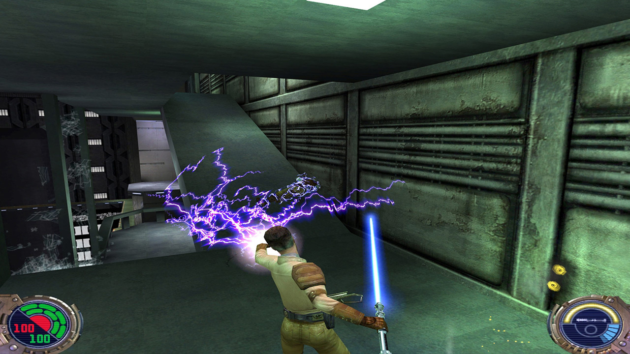 Kyle Katarn wields lightning in Jedi Outcast.