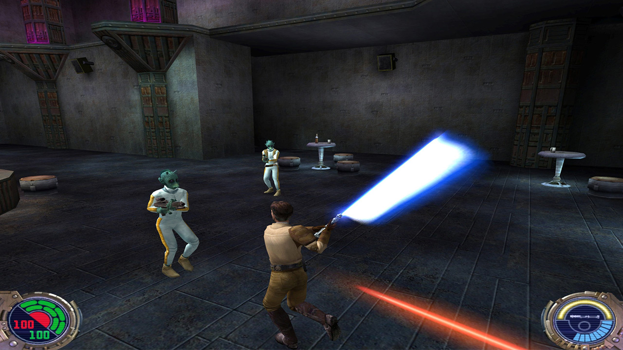 Kyle Katarn wields a lightsaber in Jedi Outcast.