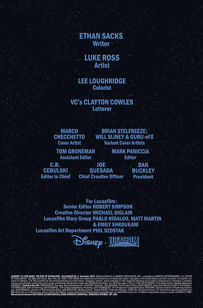 Credits for Journey to Star Wars: The Rise of Skywalker — Allegiance issue #1.