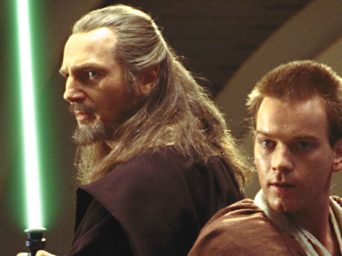 Qui-Gon Jinn and Obi-Wan Kenobi in a scene from The Phantom Menace.