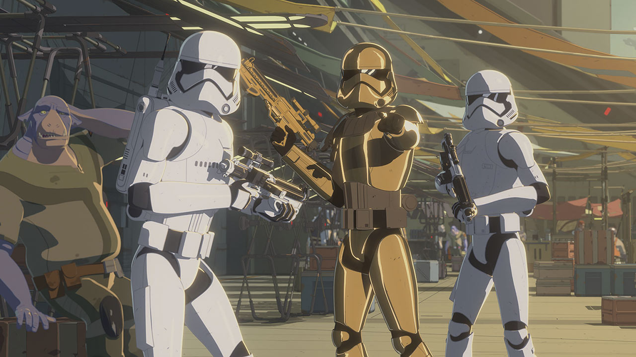 Commander Pyre and two First Order stormtroopers patrolling the Colossus