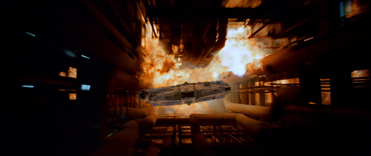 The Millennium Falcon escapes the exploding Death Star in Star Wars: Return of the Jedi