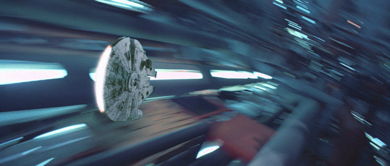 The Millennium Falcon in the Death Star in Star Wars: Return of the Jedi