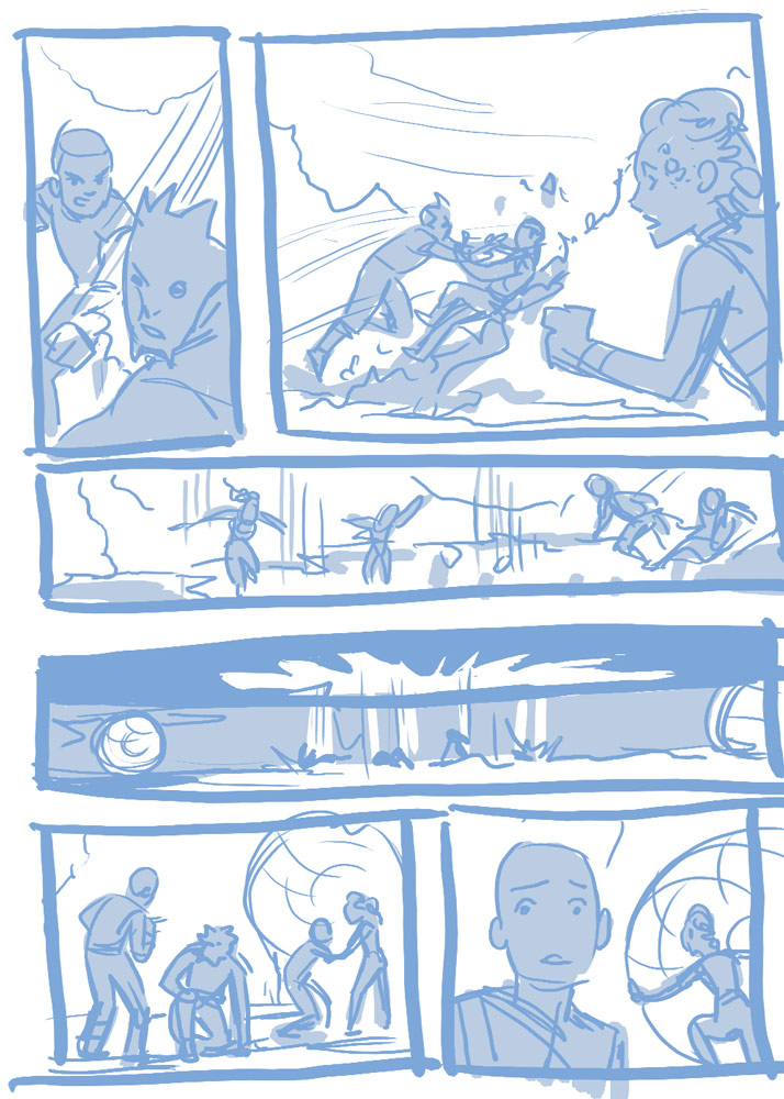 Artist Megan Levens' layouts for a page in Return to Vader's Castle