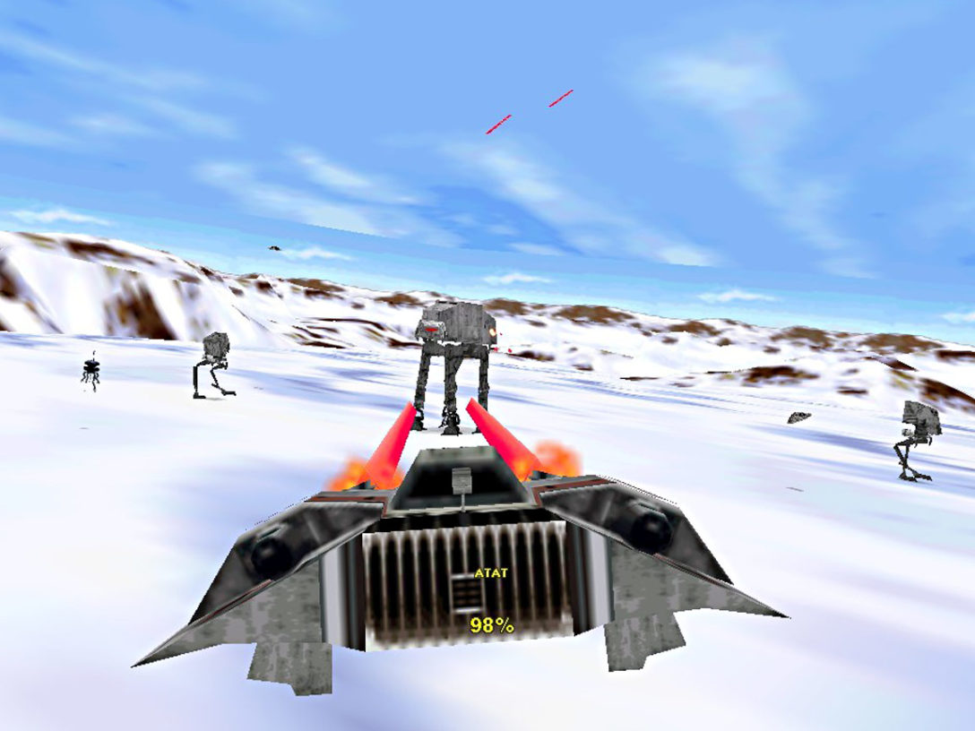 Snowspeeder blasts an AT-AT on Hoth in Shadows of the Empire