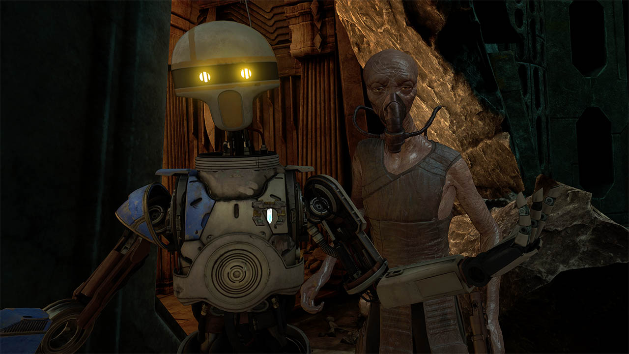ZO-E3 and Vylip in Vader Immortal- Episode II.