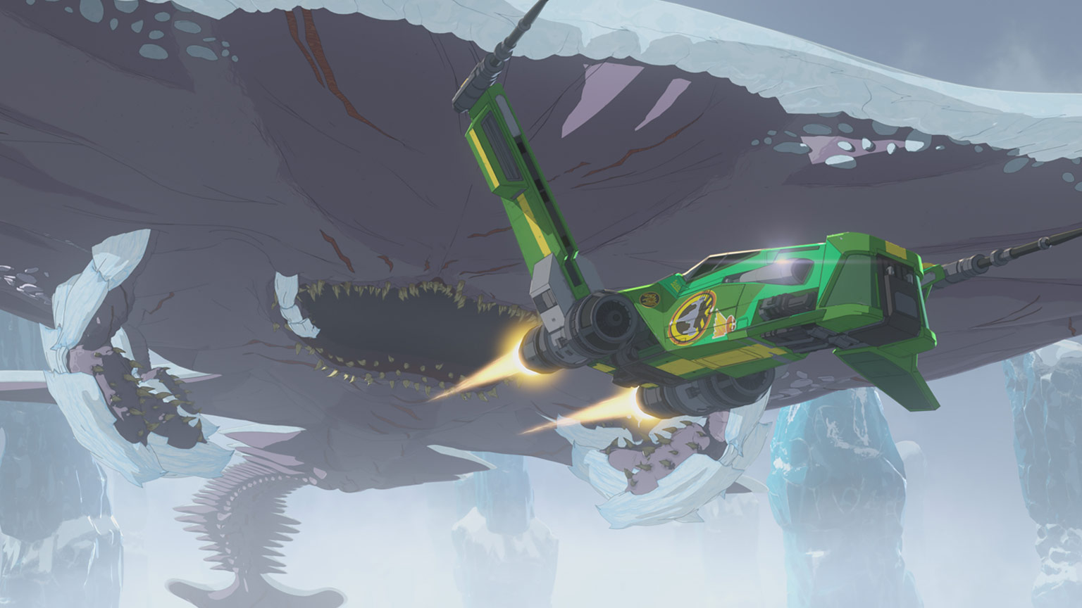 Hype flying past ice creature