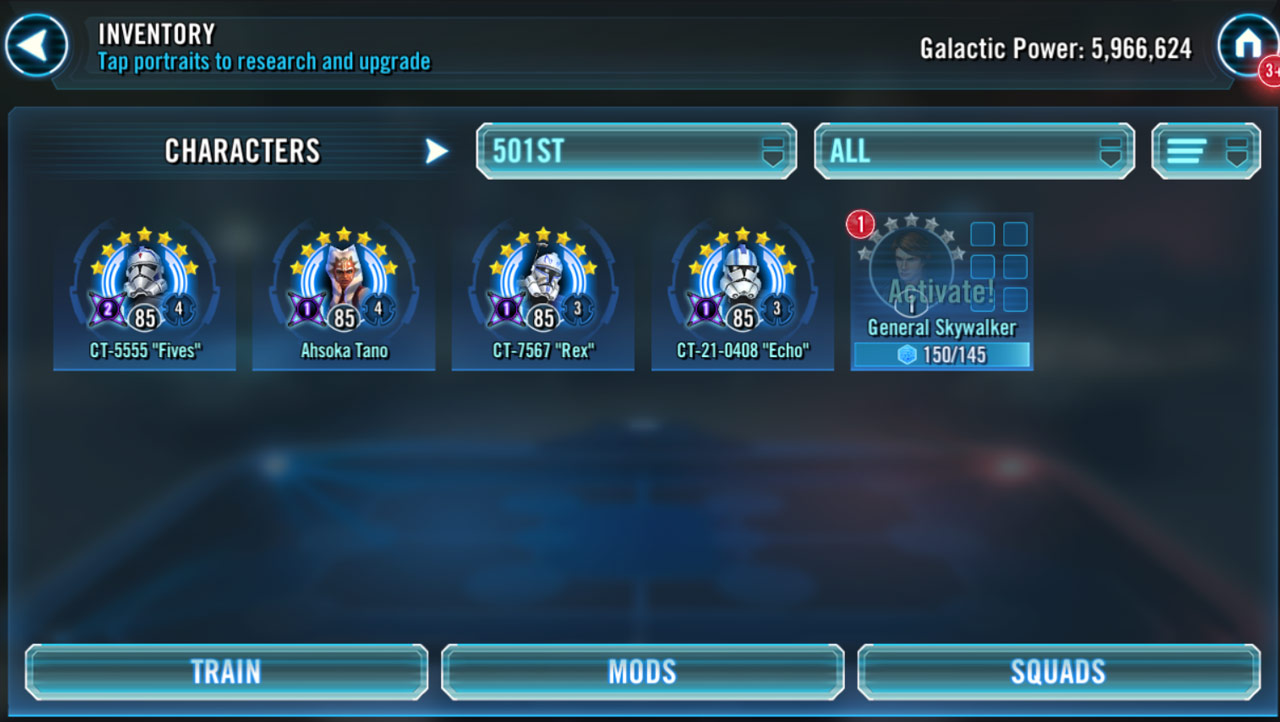 Character inventory screen in Star Wars: Galaxy of Heroes