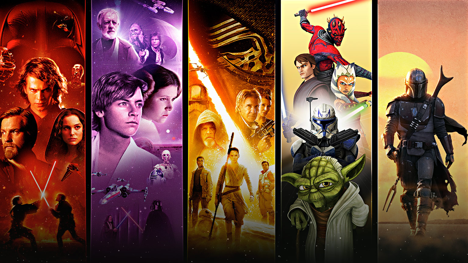 Collage of Star Wars programming coming to Disney+
