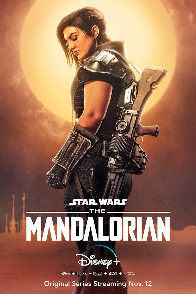 A character poster for The Mandalorian featuring Cara Dune.