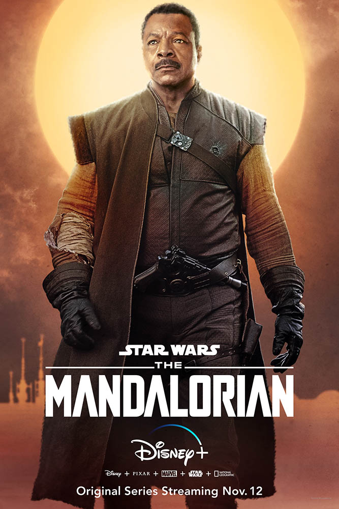 A character poster for The Mandalorian featuring Greef Carga.