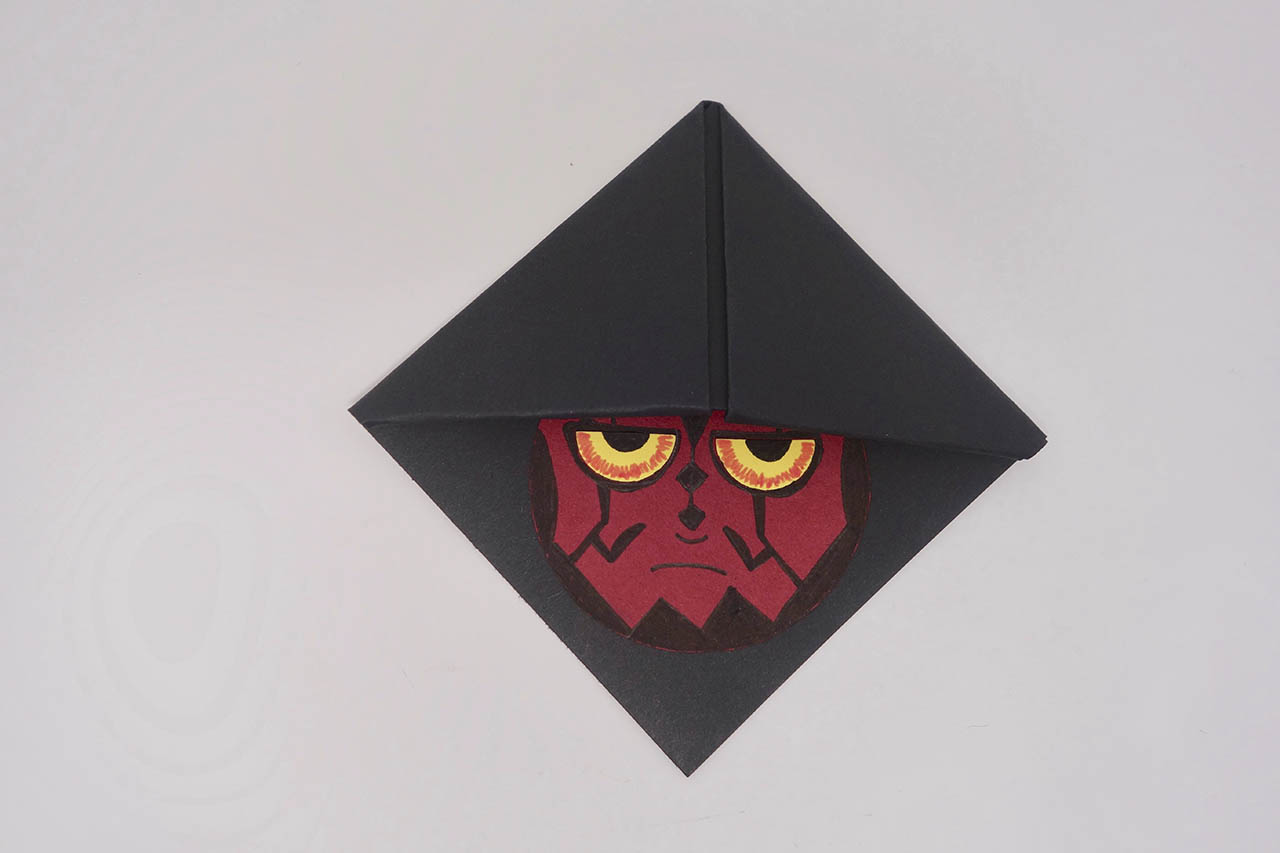 Darth Maul bookmark, glue in hood
