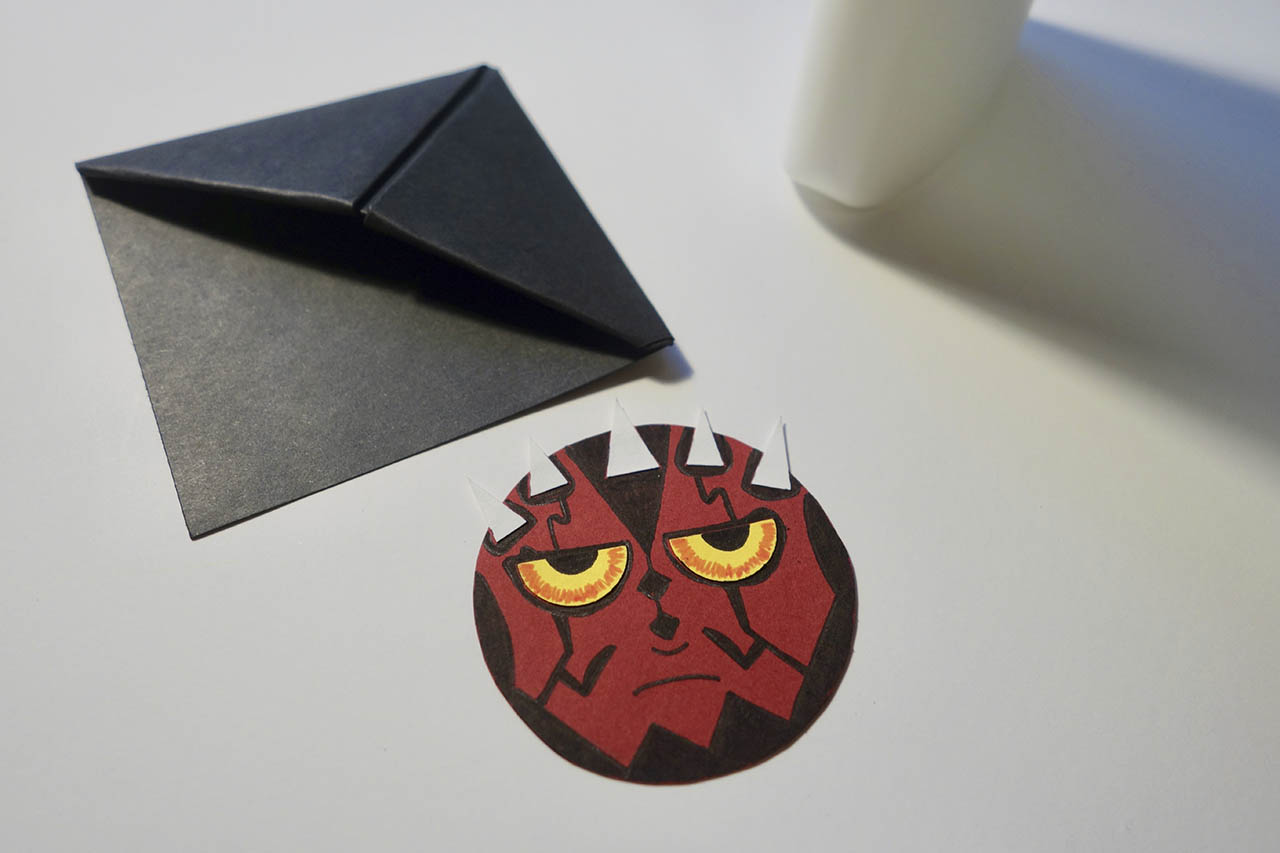 Darth Maul bookmark, draw in face details