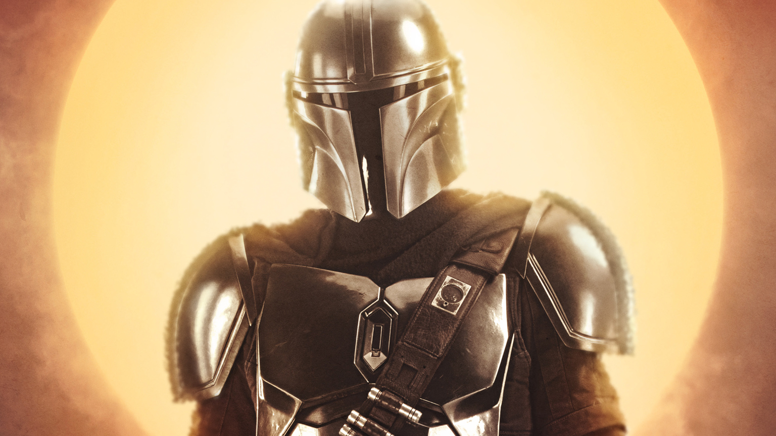 A character poster for The Mandalorian featuring The Mandalorian.
